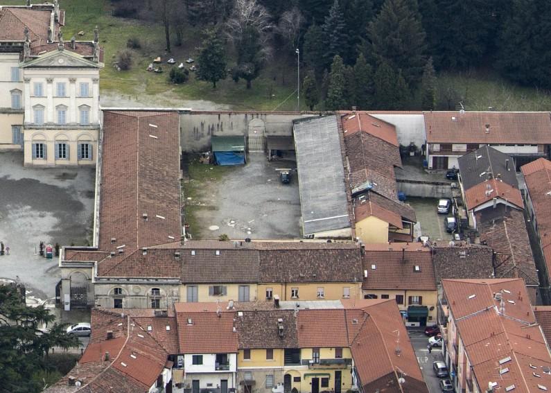 Fotografia da elicottero dell'area occidentale del complesso architettonico della villa (Fototeca ISAL)