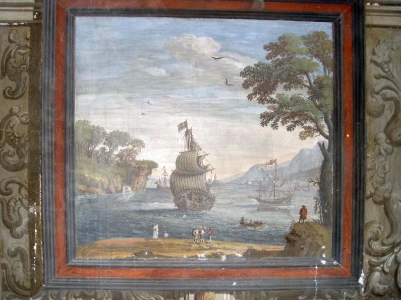 44CE Piccola stanza dipinta ad architettura con Porti di mare (1)