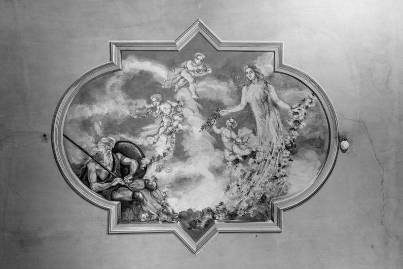 Particolare dello decorazione pittorica dell'Aula magna (Fototeca ISAL-BAMS Photo Rodella)