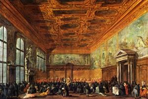 Francesco Guardi, Sala del collegio del Palazzo Ducale di Venezia in occasione di una festa di carnevale