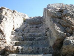 Atene, Areopago, particolare della scalinata d'accesso