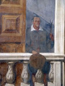 Cesano Maderno, Palazzo Arese Borromeo, particolare della decorazione pittorica dello Scalone d'accesso al piano superiore raffigurante un contadino con in mano un forcone a due rebbi (Fototeca ISAL)