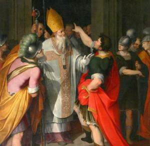 Camillo Procaccini, Basilica di Sant'Ambrogio a Milano, cappella della deposizione, Sant'Ambrogio impedisce all'imperatore Teodosio I di entrare nella Basilica dopo il massacro di Tessalonica, (particolare).