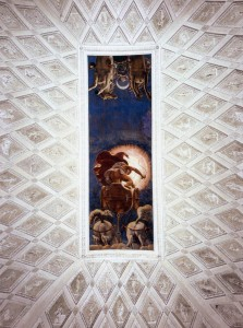 Mantova, Palazzo Tè, Stanza del Sole, particolare della volta affrescata da Giulio Romano raffigurante il carro lucente di Apollo che tramonta per lasciare posto al carro di Diana
