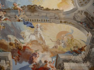 Fratelli Gallairi, Villa Arconati a Bollate, Salone dei Galliari, particolare dell'affresco raffigurante Fetonte che chiede il permesso ad Apollo di poter guidare per un giorno il Carro solare (Fototeca ISAL).