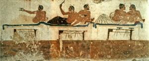 Paestum, particolare di un affresco parietale della Tomba del tuffatore raffigurante un banchetto (Fototeca ISAL)