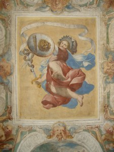 Detail of the decorations of the ceiling attributed to Camillo Procaccini depicting the allegory of Fortitude (ISAL Photo Archive)